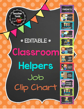 "Job Chart ""Classroom Helpers""  - Cute Polka Dots and Chalk"