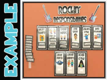 Job Chart For Classroom - Rockin' Responsibilities {Editable}