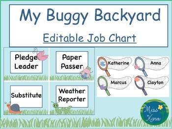 Job Chart:  My Buggy Backyard (Editable)