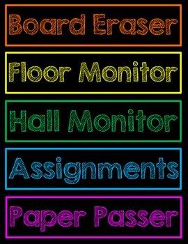 Classroom Job Chart Neon Chalkboard PDF
