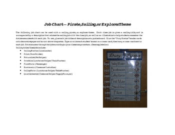 Job Chart - Pirate, Sailing, Nautical or Explorer Theme