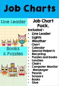 Classroom Job Chart Theme Cute Little Owls