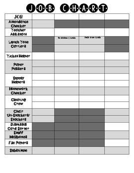 Job Chart sign-up for 4 classes