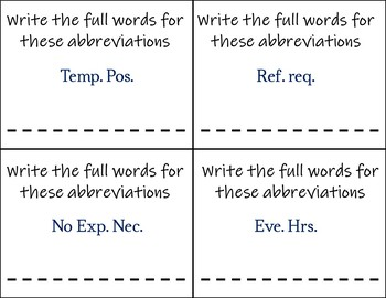 Job/Classified Ad Abbreviations Task Cards