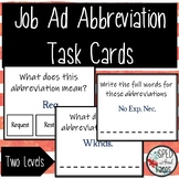 Job/Classified Ad Abbreviations Task Cards