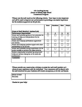 Job Coach Survey