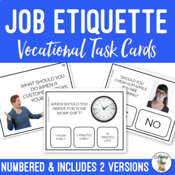 Job Etiquette Task Clip Cards with Visuals Vocational Life Skills