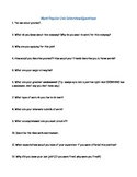 Job Interview Questions Worksheet and Notes