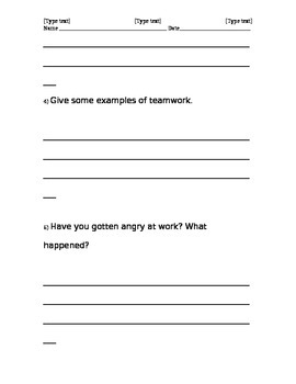 Job Interview Skills - Questions and Worksheet