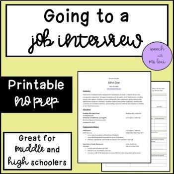 Going to a Job Interview: A Social Script