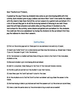 Job Interviewing Skills Notes/Activity