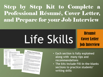 Job & Life Skills Bundle Package: Resume, Cover Letter, & Interview Kits