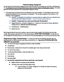 Job Research assignment and template | TpT