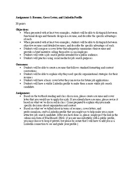 Job Search Bundle: Assignment Sheet, Rubric, Peer Critique Form