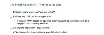 Job Search Checklist #1: Walk-in to the store
