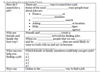 Job Search Guided Notes