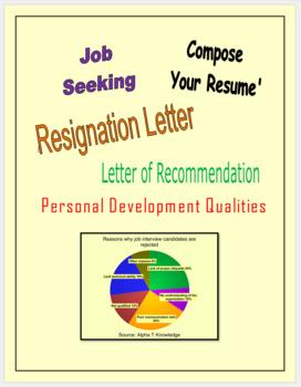 Job Seeking, Resume, LOR, Resignation Letter, Personal Development