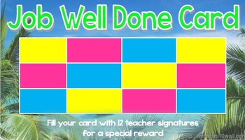 Job Well Done - Tropical Theme Student Rewards Card