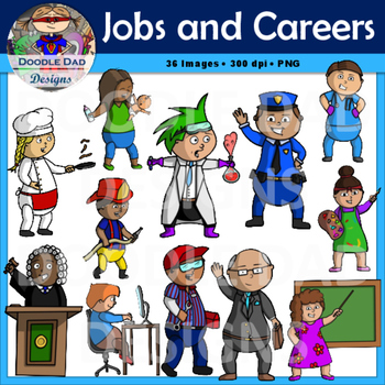 Job And Career Clip Art Doctor Judge Police Chef Scientist Programmer
