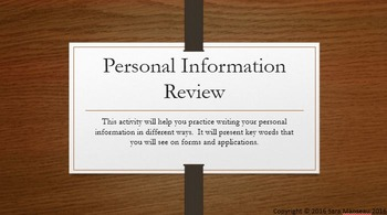 Job and Life Skills Lessons:  Personal Information Review Activities