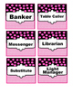 Job cards with pink and black polka dot with chevron design.