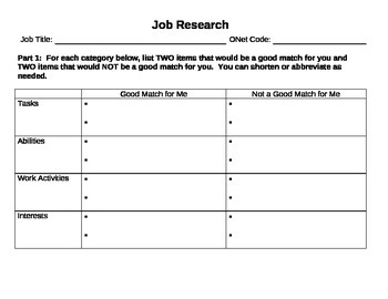 Job research - Find a career for you! worksheet, internet research