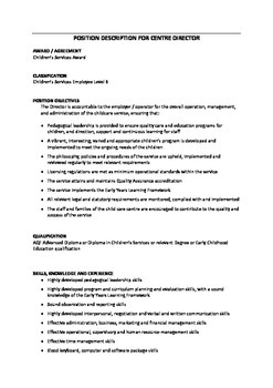 Job/Position Descriptions for all educators/staff in childcare/early childhood