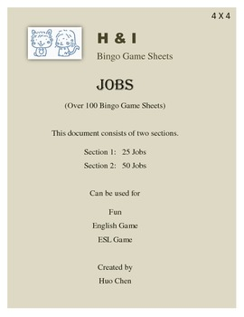 Jobs Bingo Game (H&I Bingo Game Sheets) - 4 X 4