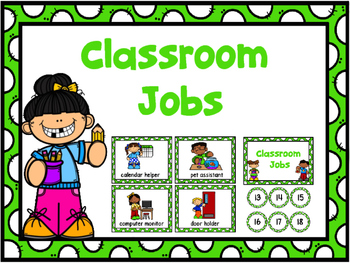 Jobs Chart -Green Polka Dot & Numbers 1-30
