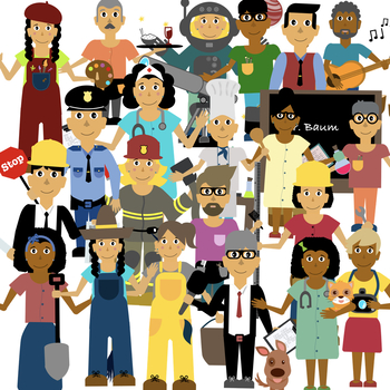 jobs and community helpers clipart with black white images included rh teacherspayteachers com job clip art images jobs clip art free