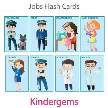 Jobs Flash Cards Instant Download PDF; Preschool, Kinderga