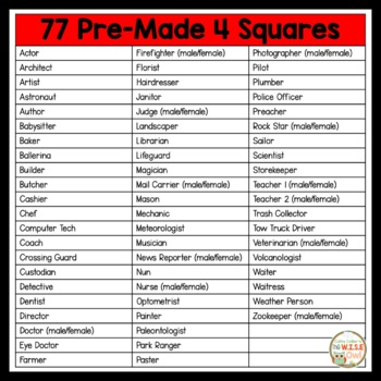 4 Square Writing:  Jobs