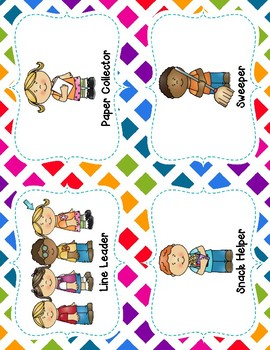 Jobs In The Classroom  - Colorful Rainbow  Theme - Clip Chart Ready