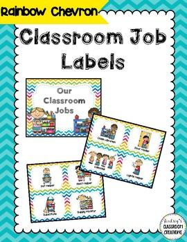 Jobs In The Classroom (18 jobs) - Rainbow Chevron Theme - Clip Chart Ready