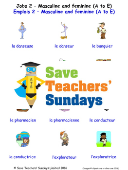 Jobs Masc/Fem (A-E) in French Worksheets, Games, Activitie