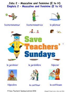 Jobs Masc/Fem (E-H) in French Worksheets, Games, Activitie