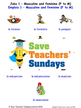 Jobs Masc/Fem (F-M) in French Worksheets, Games, Activities and Flash Cards (1)