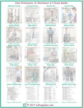 Jobs-Professions 16 Worksheet- 4 Exam Bundle