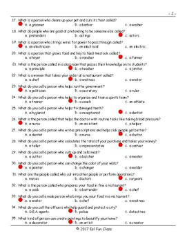 Jobs-Professions Multiple Choice Exam