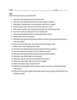 Jobs (Steve Jobs) Movie Questions