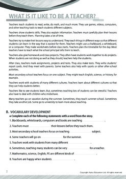 Jobs and Careers - Teachers - Grade 7