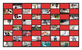 Jobs and Professions Legal Size Photo Checkerboard Game