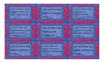 Jobs and Professions Spanish Card Game