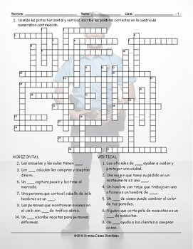 Jobs and Professions Spanish Crossword Puzzle