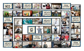 Jobs and Professions Spanish Legal Size Photo Board Game