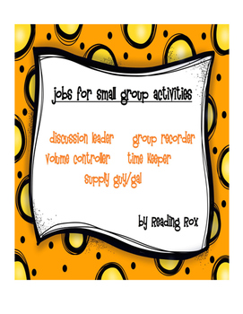 Jobs for Small Group Activities *Back To School*