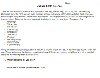 Jobs in Earth Science Investigation