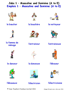 Jobs in French Word searches / Wordsearches