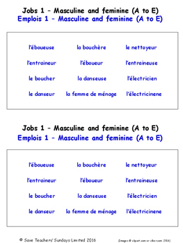 Jobs in French Worksheets