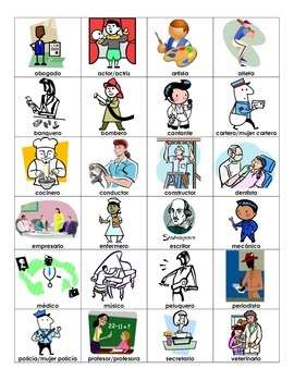 Jobs in Spanish Vocabulary List
